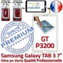 Samsung Galaxy GT-P3200 Tab3 B Supérieure LCD 7 P3200 Ecran en GT Qualité PREMIUM Tactile Verre Adhésif Prémonté Assemblée Vitre TAB3 Blanche