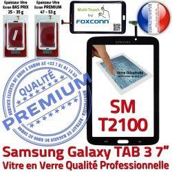 Adhésif Noire Samsung SM-T2100 PREMIUM Galaxy en Prémonté 7 Tactile Qualité N Vitre Tab3 LCD Assemblée Supérieure TAB3 Verre Ecran