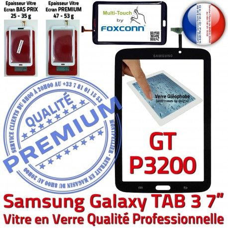 Samsung Galaxy TAB 3 GT-P3200 N Ecran Noire LCD Prémonté en Assemblée Supérieure PREMIUM Adhésif 7 Verre Vitre Qualité Tactile TAB3