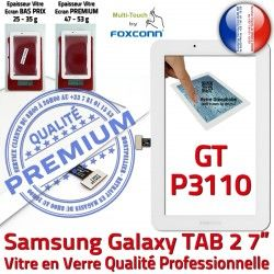 Galaxy Tactile GT-P3110 7 Verre Blanche Samsung Adhésif en P3110 GT LCD B Supérieure Ecran Vitre TAB Assemblée PREMIUM TAB2 Qualité 2 Prémonté