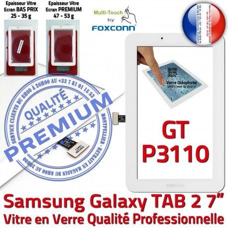 Samsung Galaxy TAB 2 GT-P3110 B GT en P3110 PREMIUM Assemblée Prémonté TAB2 Ecran Verre Blanche Vitre Supérieure Qualité 7 Adhésif LCD Tactile