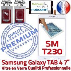 7 Tactile 4 Assemblée Supérieure inch TAB Verre Prémonté TAB4 Blanche PREMIUM SM-T230 Adhésif Qualité Samsung Vitre Galaxy B Ecran LCD SM T230