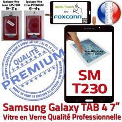 Vitre inch TAB4 Supérieure Galaxy Prémonté 4 Tactile SM-T230 Adhésif Assemblée PREMIUM Qualité TAB Samsung Verre Noire LCD SM T230 7 N Ecran