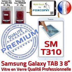 8 SM-T310 Ecran Galaxy Qualité B Prémonté en Assemblée Vitre PREMIUM Tactile Samsung Supérieure Verre pouces Blanche Coller TAB3 à