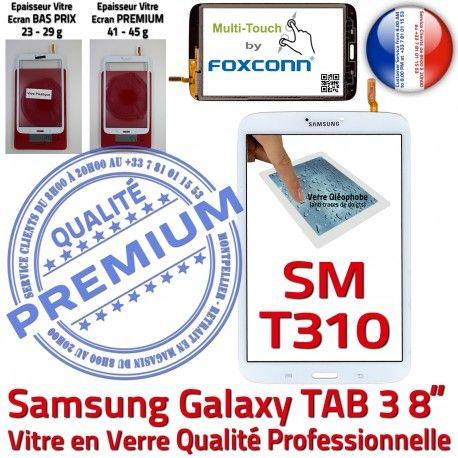 Samsung Galaxy SM-T310 TAB3 B Blanche Verre Prémonté 8 Supérieure Coller pouces Assemblée Vitre à en Tactile PREMIUM Ecran Qualité