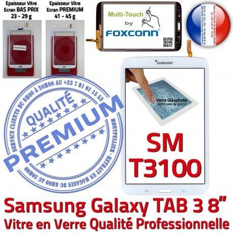 Samsung Galaxy SM-T3100 TAB3 B Tactile PREMIUM Supérieure inch Blanche à Assemblée 8 Verre Prémonté Coller Qualité Ecran Vitre en