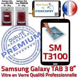 Galaxy Noire Supérieure SM-T3100 Ecran N Vitre Qualité Samsung inch Assemblée à Coller en Verre PREMIUM 8 Tactile TAB3 Prémonté