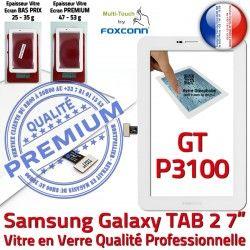 Adhésif Ecran inch GT PREMIUM TAB2 Blanc 2 P3100 Assemblée 7 Galaxy Tactile Samsung LCD Verre Prémonté Vitre GT-P3100 Blanche TAB Supérieure Qualité