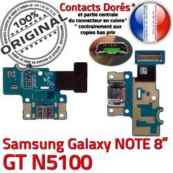 GT GT-N5100 USB Micro Doré Connecteur Chargeur de Samsung Nappe Charge Galaxy N5100 ORIGINAL Qualité Contact MicroUSB Réparation OFFICIELLE NOTE