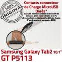 GT-P5113 Micro USB TAB2 Charge ORIGINAL Qualité 2 Dorés MicroUSB Chargeur P5113 Galaxy OFFICIELLE Samsung Connecteur TAB GT Réparation Contacts Nappe de