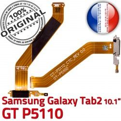 OFFICIELLE TAB Charge Qualité TAB2 Connecteur Ch Samsung Contacts MicroUSB Nappe GT-P5110 Chargeur Dorés Galaxy Réparation 2 ORIGINAL de