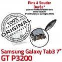 Samsung Galaxy Tab 3 P3200 USB TAB Dock ORIGINAL souder GT de Chargeur charge 7 Connecteur Micro Connector à Prise inch Dorés Pins