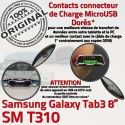 Samsung Galaxy TAB 3 SM-T310 Ch Contacts Charge Connecteur de OFFICIELLE ORIGINAL Chargeur Dorés MicroUSB Réparation Nappe TAB3 Qualité