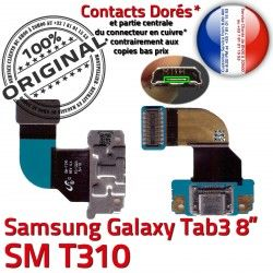 MicroUSB Samsung ORIGINAL de OFFICIELLE TAB Réparation Galaxy USB Dorés Chargeur T310 Qualité Nappe TAB3 Contacts SM-T310 Charge 3 Connecteur Micro SM