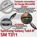 Samsung Galaxy SM-T311 TAB3 Ch TAB de T311 SM OFFICIELLE Connecteur Charge Réparation ORIGINAL 3 Contacts Dorés MicroUSB Qualité Nappe Chargeur