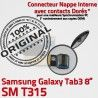 SM-T315 Micro USB TAB3 Charge T315 Dorés de Chargeur OFFICIELLE Contacts TAB Nappe Galaxy Réparation Samsung MicroUSB 3 ORIGINAL SM Connecteur Qualité