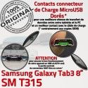 Samsung Galaxy SM-T315 TAB3 Ch Réparation Dorés ORIGINAL Chargeur TAB 3 Qualité MicroUSB OFFICIELLE Charge SM Connecteur de Contacts T315 Nappe