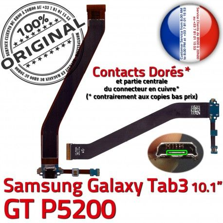 Samsung Galaxy GT-P5200 TAB3 Ch TAB Réparation MicroUSB P5200 Chargeur Contacts GT de Qualité Dorés OFFICIELLE Nappe ORIGINAL Charge Connecteur 3