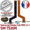 Samsung Galaxy SM-T520NC TAB PRO Réparation ORIGINAL Nappe Contact T520N de Connecteur Doré OFFICIELLE SM Chargeur Charge MicroUSB Qualité