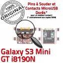 Samsung Galaxy S3 GT-i8190N Chg Mini Dock souder Micro de à ORIGINAL Pins USB Flex Dorés Chargeur Connector Connecteur Prise charge