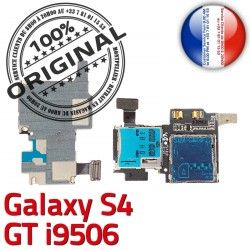 ORIGINAL Connecteur i9506 Galaxy Micro-SD Lecteur Reader Nappe SIM S4 Dorés Contacts LTEAS Samsung GT Connector Carte Memoire Qualité