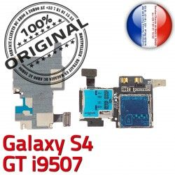 Lecteur Micro-SD Carte SIM S Galaxy Samsung Connecteur S4 Memoire ORIGINAL Connector i9507 Reader Qualité Dorés Nappe Contacts GT