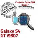 Samsung Galaxy S4 GT i9507 S Connecteur Contacts SIM Reader Connector Qualité Carte Nappe Lecteur Micro-SD Memoire ORIGINAL Dorés