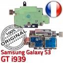 ORIGINAL Samsung Galaxy S3 GT i939 Lecteur Carte Memoire SIM Micro-SD Connecteur Contacts Dorés Reader Connector Nappe Qualité