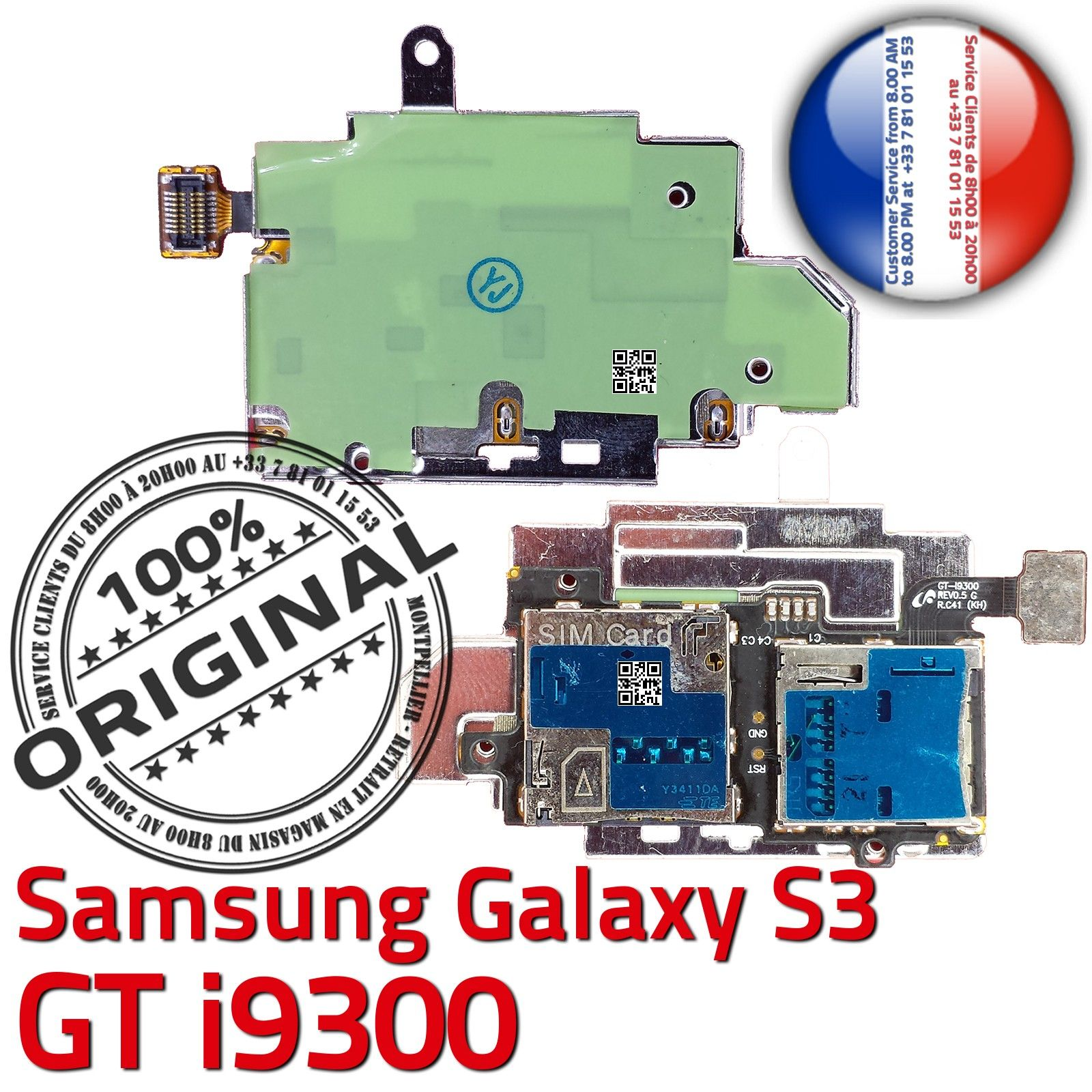 original samsung galaxy s3 gt i9300 connecteur carte sim lecteur memoire microsd ebay. Black Bedroom Furniture Sets. Home Design Ideas