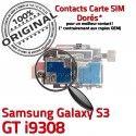 Samsung Galaxy S3 GT i9308 S ORIGINAL Carte Qualité Memoire Nappe Dorés Micro-SD Contacts Reader SIM Lecteur Connector Connecteur