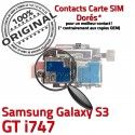 Samsung Galaxy S3 GT i747 S Reader SIM Memoire Connector Nappe Qualité Lecteur Micro-SD ORIGINAL Carte Contacts Dorés Connecteur