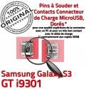 Samsung Galaxy S3 GT i9301 C souder Connector de Chargeur Connecteur Micro charge à Pins USB Dorés Dock Prise Flex ORIGINAL