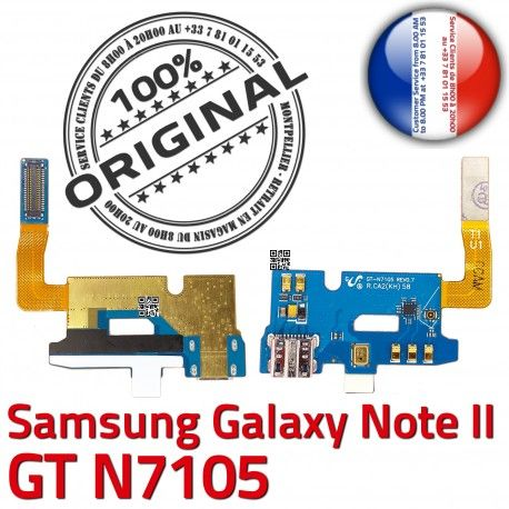 Samsung Galaxy NOTE2 GT N7105 C RESEAU Prise MicroUSB Charge Qualité ORIGINAL Antenne Microphone Chargeur Nappe Connecteur OFFICIELLE
