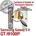Samsung Galaxy S2 GT i9100P V Switch OR Contacts Son Volume Dorés S à Nappe Connecteur SLOT Connector Bouton ORIGINAL souder Pins 2 Circuit
