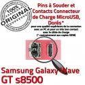 Samsung Galaxy Wave GT s8500 C charge Flex Chargeur à de USB Dorés Micro Connecteur Prise souder Dock ORIGINAL Pins Connector