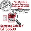 Samsung Galaxy Y GT s5630 C Connecteur souder USB Dock Dorés charge Micro de ORIGINAL Chargeur Prise Connector à Pins Flex