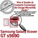 Samsung Galaxy Xcover GT s5690 C Pins Dorés souder charge Flex à Connector Chargeur Micro de USB Connecteur Dock ORIGINAL Prise