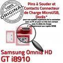 Samsung Omnia HD GT i8910 C Connector Micro de souder Flex charge Connecteur USB Prise Dorés Chargeur Dock ORIGINAL à Pins