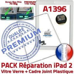 Réparation Tactile Precollé Bouton 2 Vitre iPad2 Blanche PACK B Tablette Apple Verre A1396 Adhésif Cadre Ecran HOME iPad Joint PREMIUM