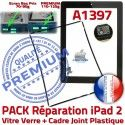 PACK iPad 2 A1397 Joint N Cadre KIT Tablette Adhésif Noire Verre Apple iPad2 Tactile Chassis HOME Bouton Vitre PREMIUM Réparation Precollé