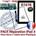 PACK iPad 3 A1416 Joint N Noire Cadre KIT Precollé Apple iPad3 PREMIUM Tactile Vitre Verre Bouton Réparation Chassis Adhésif Tablette HOME
