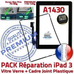 Tablette A1430 Cadre Vitre Noire Adhésif KIT N Chassis Precollé PACK Réparation Bouton PREMIUM Apple HOME iPad Joint Tactile Verre iPad3 3