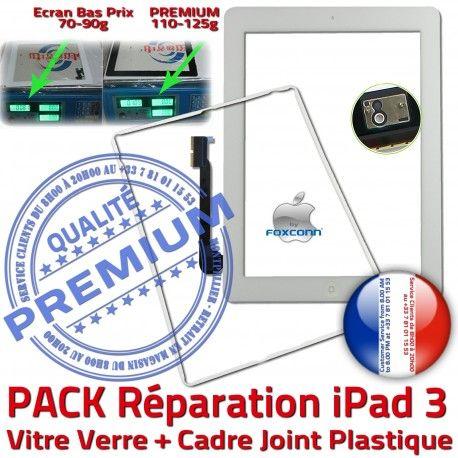 PACK iPad3 Joint B HOME Blanche Apple Bouton Tactile Tablette Verre Réparation PREMIUM KIT Cadre Vitre Adhésif Precollée Contour
