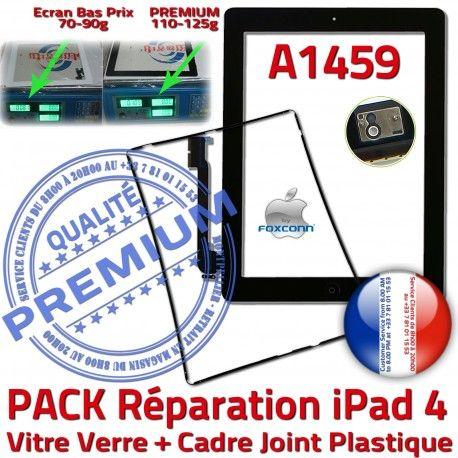 PACK iPad 4 A1459 Joint N HOME Cadre Adhésif Chassis Noire KIT Vitre PREMIUM Tablette Tactile iPad4 Réparation Bouton Precollé Apple Verre