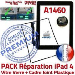 Apple Joint Bouton Chassis A1460 Réparation iPad4 PREMIUM N Cadre PACK Tablette Verre iPad HOME Precollé Vitre 4 KIT Noire Adhésif Tactile