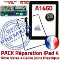 PACK iPad 4 A1460 Joint N iPad4 Chassis Tactile Bouton Adhésif Noire Réparation Apple HOME Vitre Tablette KIT Precollé Verre PREMIUM Cadre