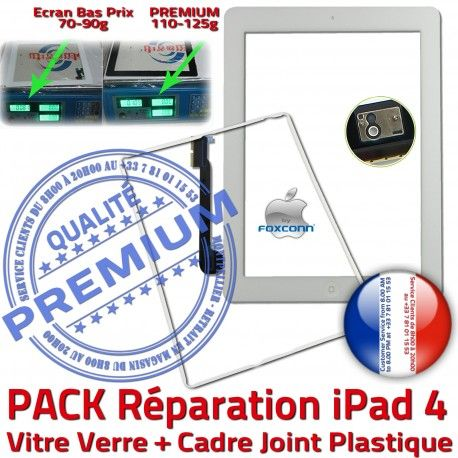 PACK iPad4 Joint B Tactile Apple Verre Adhésif Réparation KIT Bouton Precollée Blanche HOME Vitre Cadre Contour Tablette PREMIUM