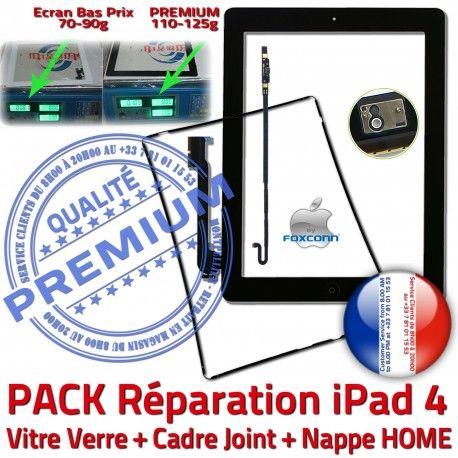 PACK iPad4 Joint Nappe N Tactile Plastique iPad Vitre Bouton PREMIUM Tablette Precollé 4 HOME Verre Adhésif Apple Noire Cadre KIT Réparation