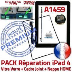 Tactile PACK Contour Tablette Vitre iPad4 Réparation Nappe HOME Verre KIT Joint Cadre A1459 Bouton Adhésif Plastique Precollé Noire N Apple