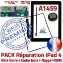 PACK A1459 Joint Nappe N Precollé Vitre Réparation Tablette Apple Plastique Bouton Cadre KIT Verre HOME Tactile Contour iPad4 Adhésif Noire